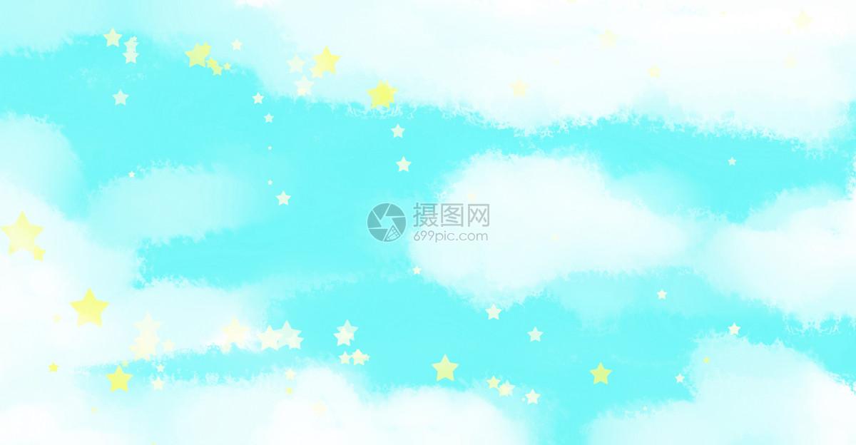手绘水彩唯美蓝天白云背景