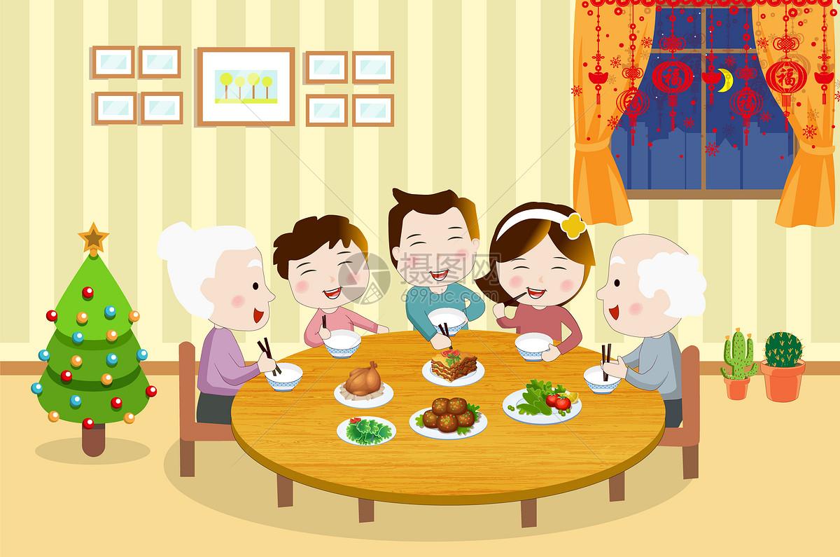 家庭聚餐简笔画 图片合集