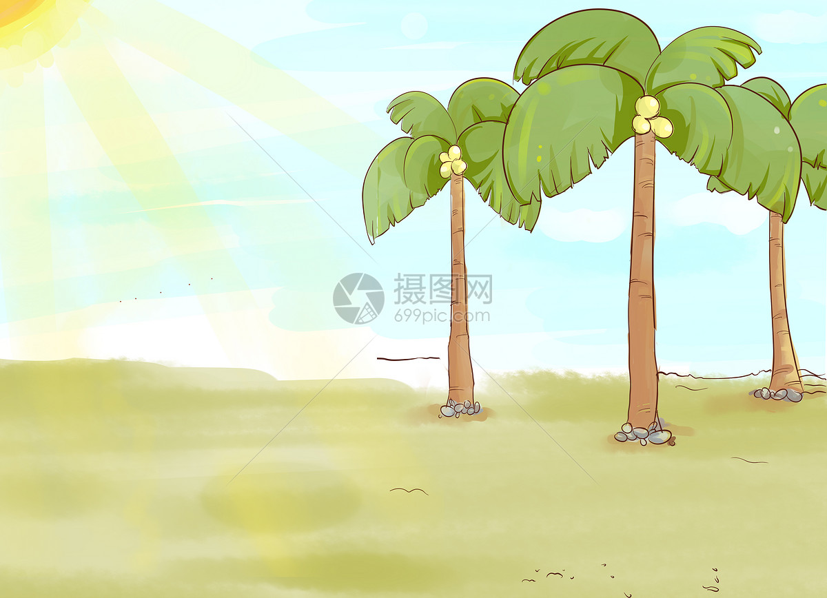 阳光下的椰子树图片素材_免费下载_psd图片格式_vrf