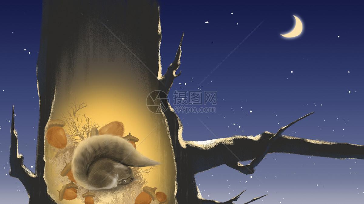 立冬节气插画冬眠的松鼠图片素材_免费下载_psd图片格式_vrf高清图片