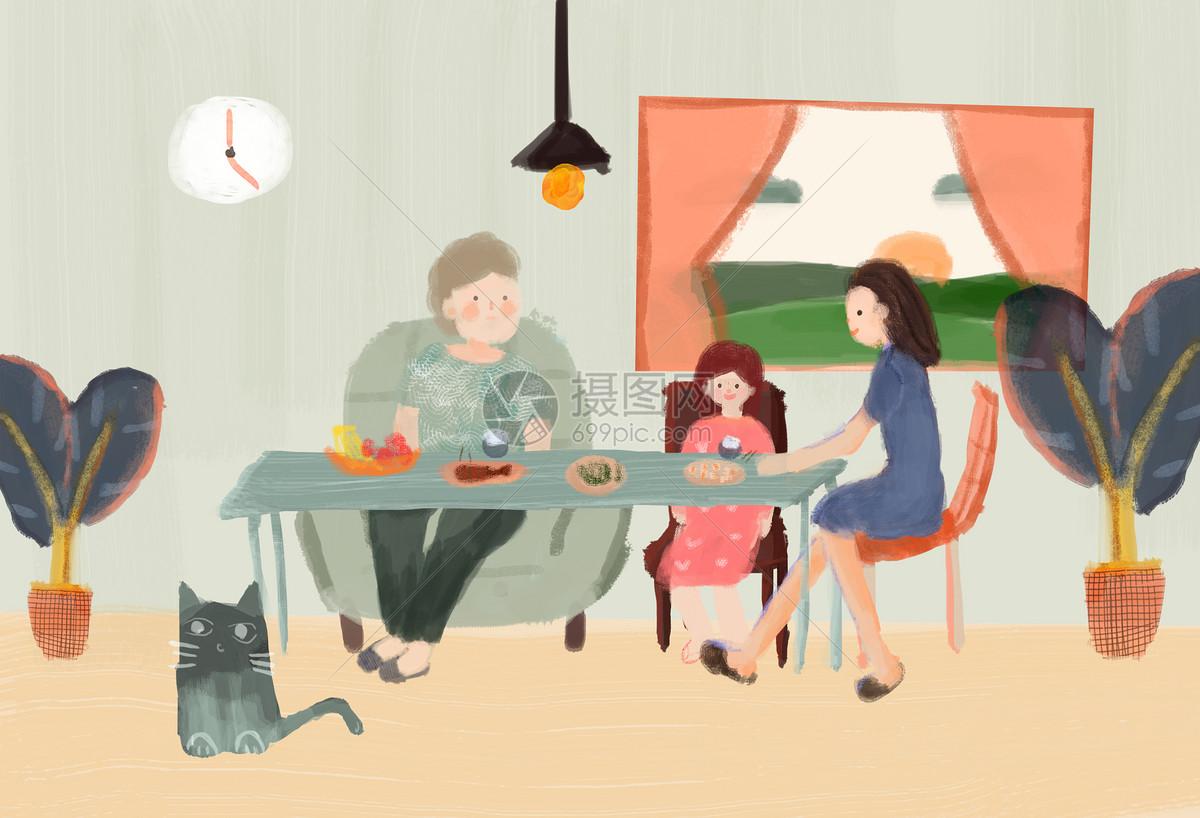 小清新一家人吃饭背景图