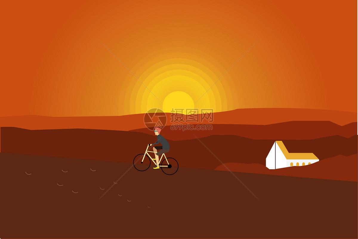夕阳西下风景插画