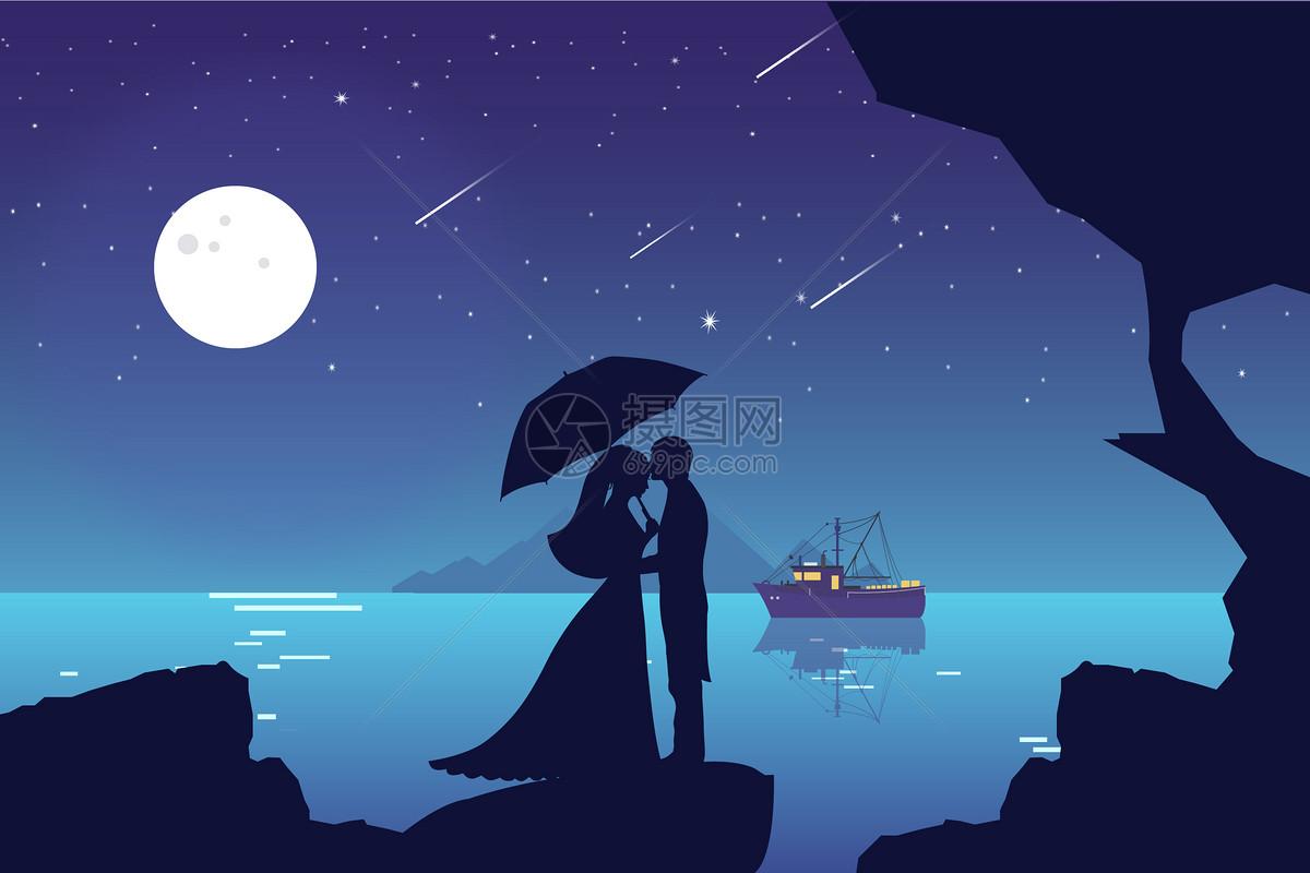 情侣唯美风景手绘插画