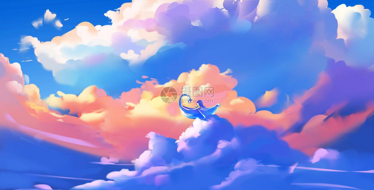 童真天空唯美手绘插画