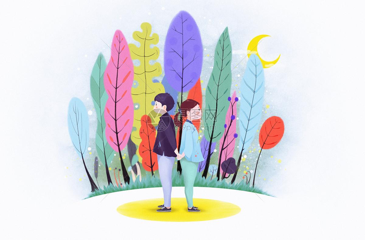 韩风手绘人物风景