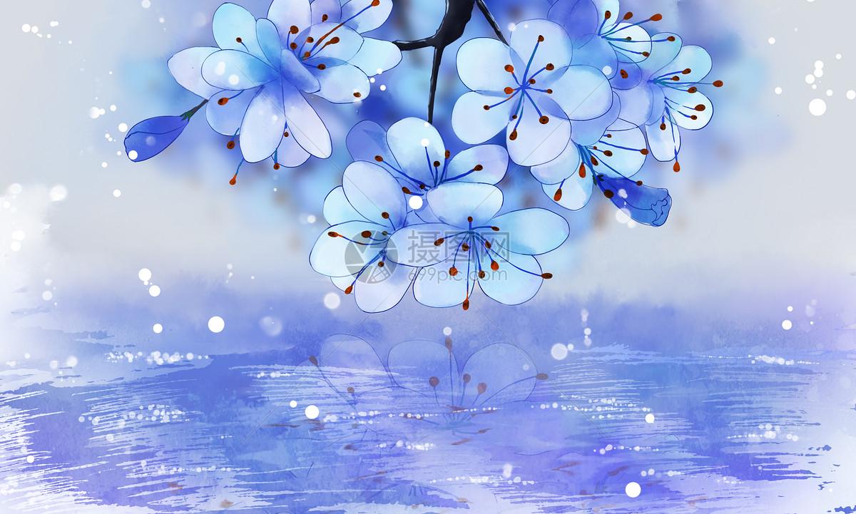 古风蓝色花唯美背景素材图片素材_免费下载_psd图片格式_vrf高清图片