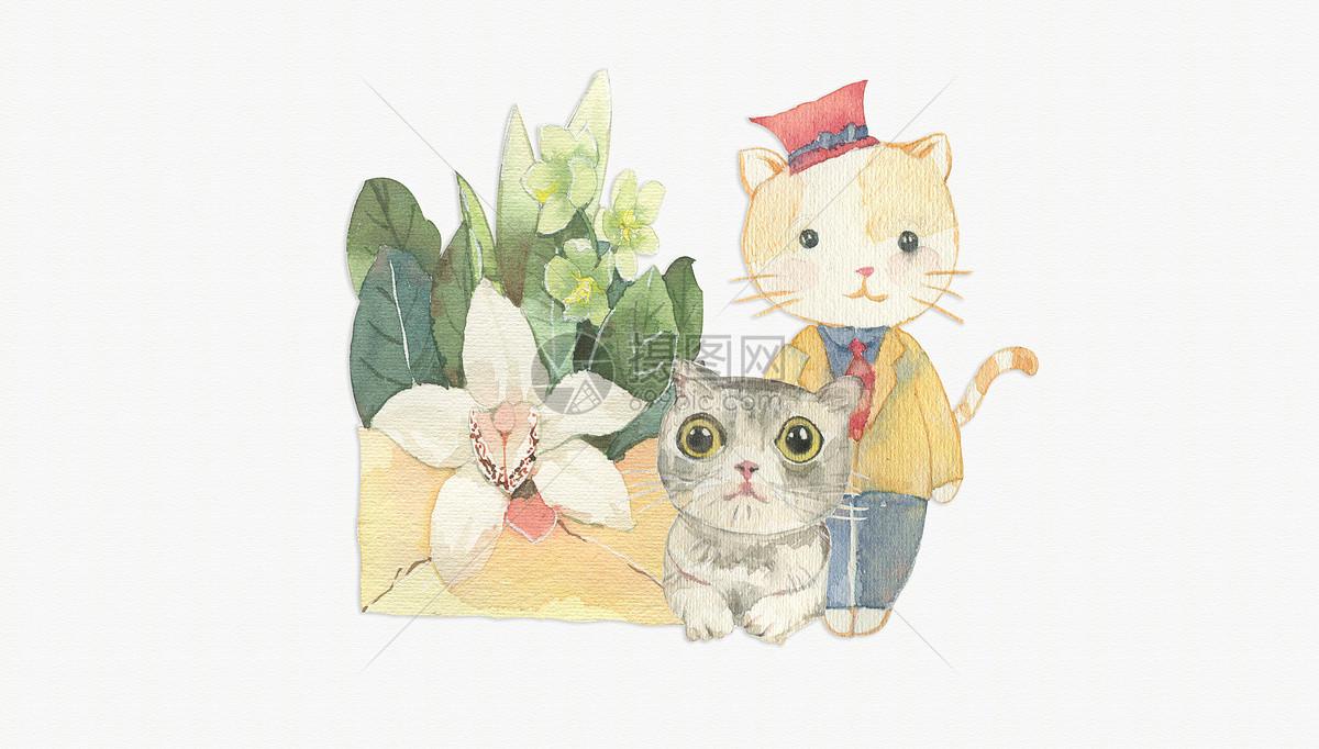 唯美图片 背景素材 手绘水彩英国短毛猫咪psd  分享: qq好友 微信朋友
