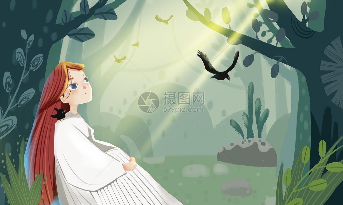 唯美图片 人物情感 治愈系森林唯美少女插画psd  分享: qq好友 微信