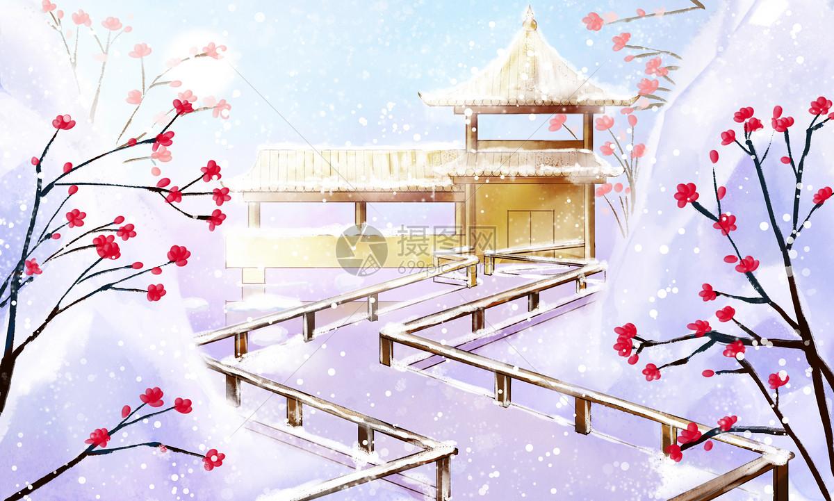 古风唯美雪景图片素材_免费下载_psd图片格式_vrf高清图片400075729