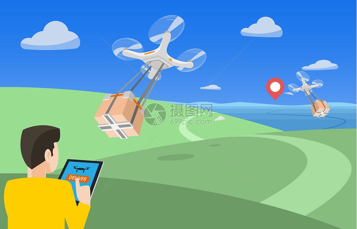 无人机送快递图片素材_免费下载_ai图片格式_vrf高清