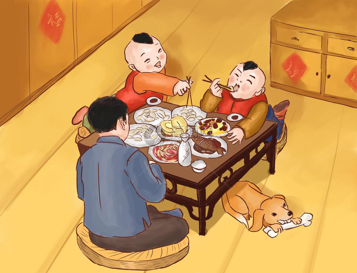 新年团圆饭图片