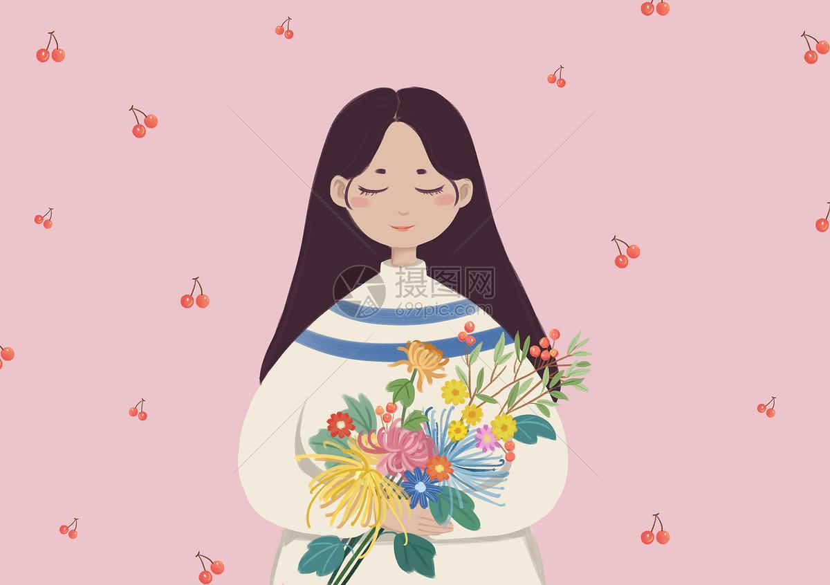 女孩与花手绘插画
