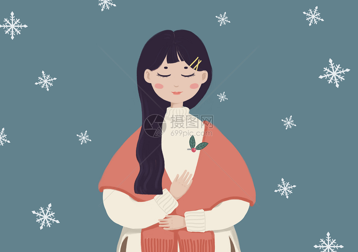 女孩与冬天手绘插画