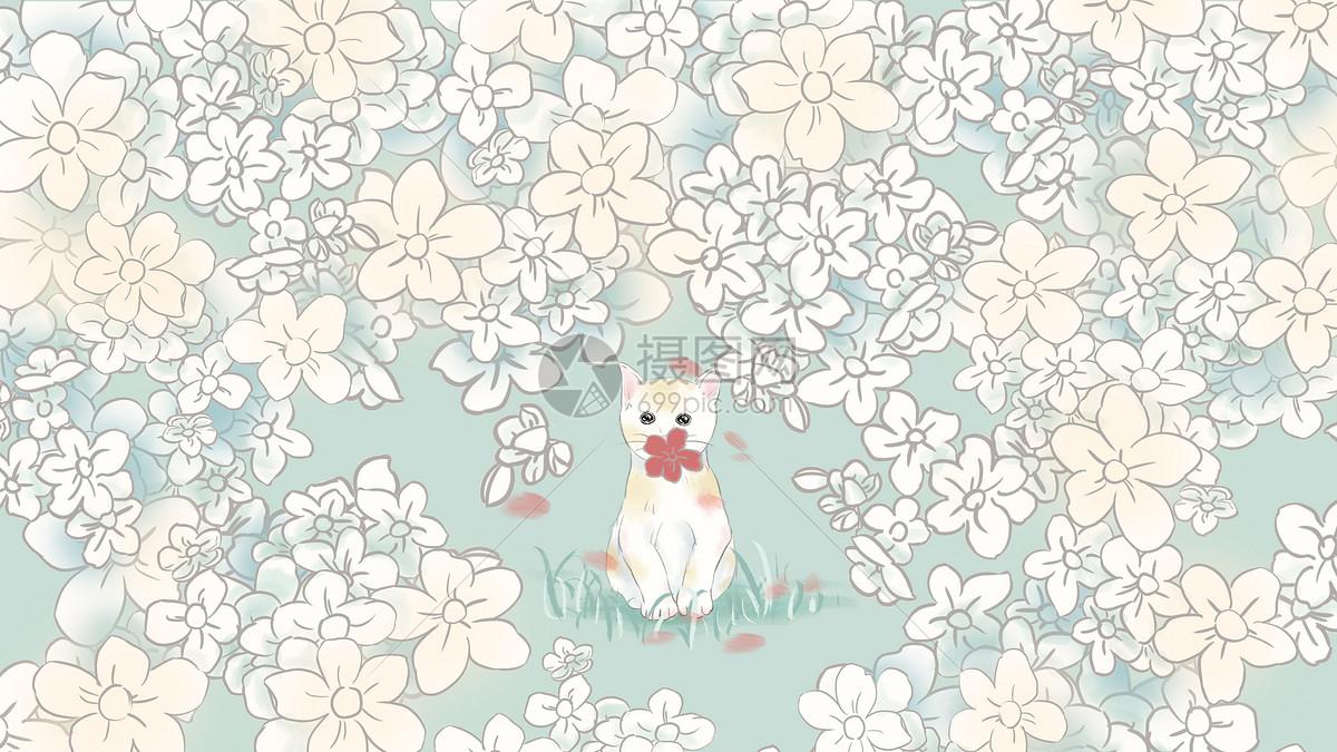 小清新手绘插画花丛中的猫