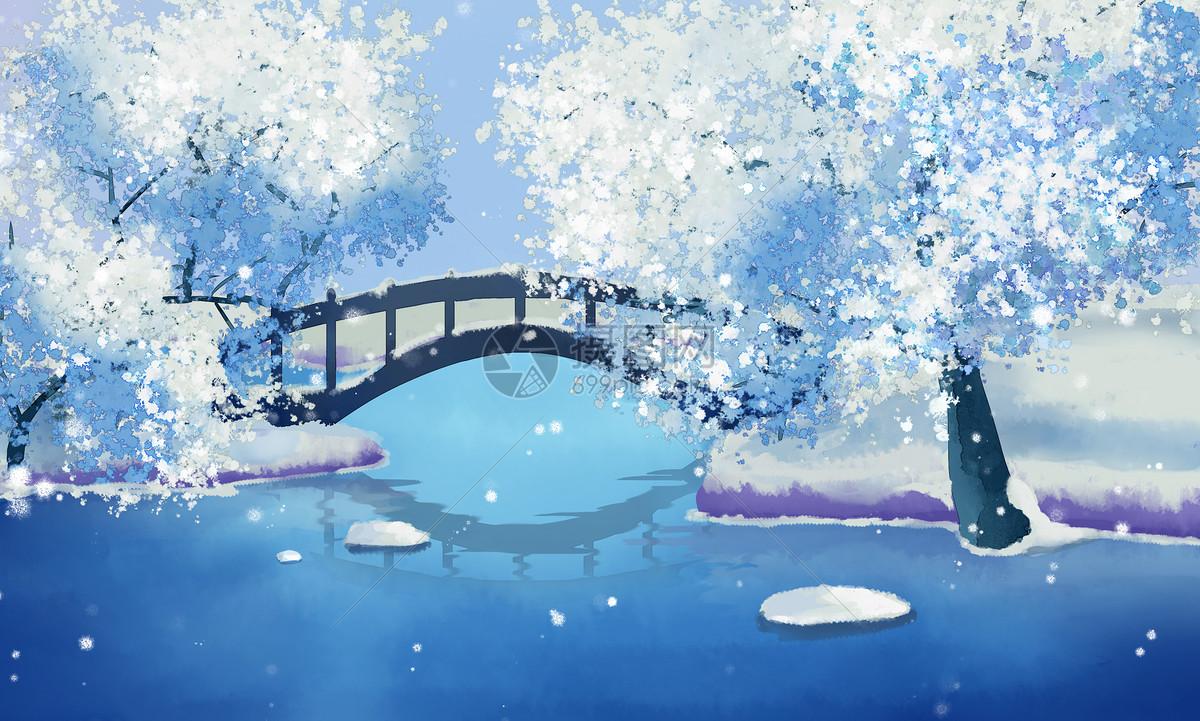 古风唯美雪景图图片素材_免费下载_psd图片格式_vrf