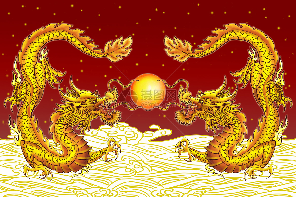 双龙戏珠金龙送福图片素材_免费下载_psd图片格式_vrf高清图片