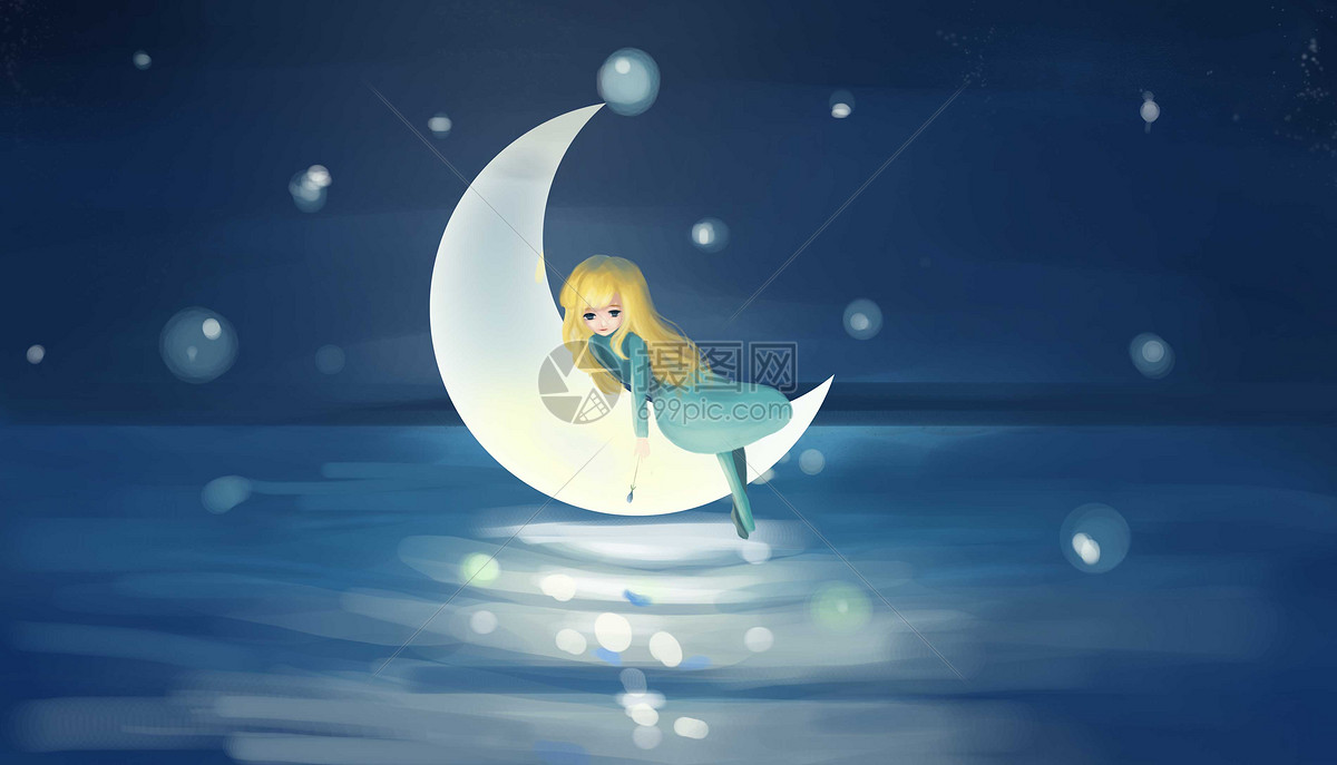 月亮上的女孩插画