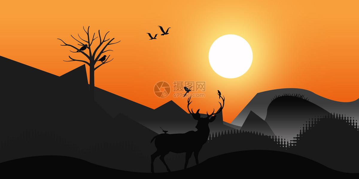 夕阳渐变风景插画