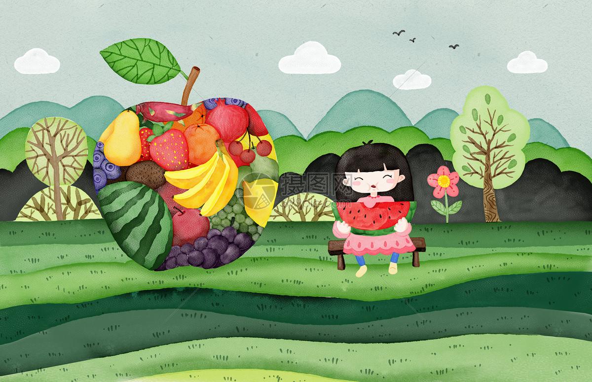 吃西瓜的女孩手绘插画