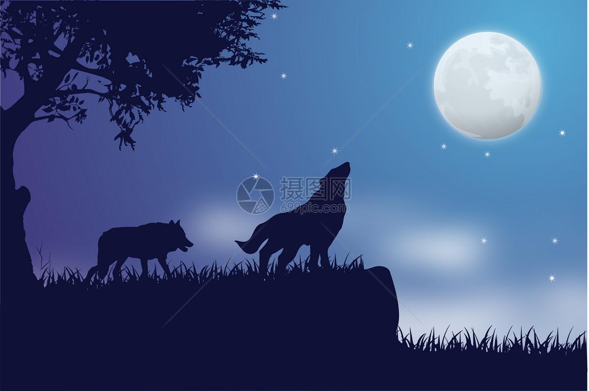唯美夜空手绘插画