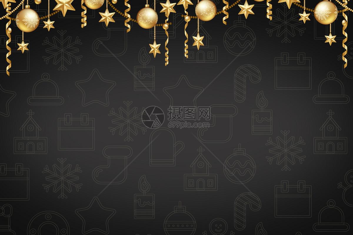 圣诞大气黑金背景素材