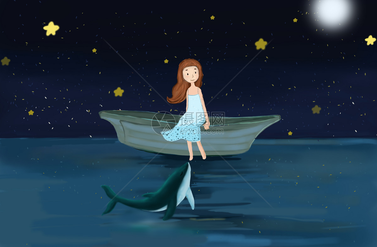 照片 自然风景 海上小女孩psd