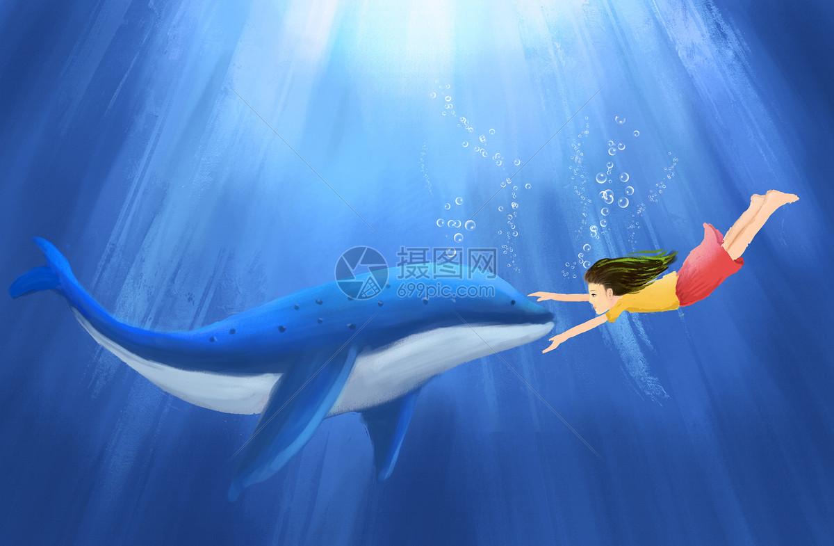 插画 自然风景 海豚与小女孩psd  分享: qq好友 微信朋友圈 qq空间