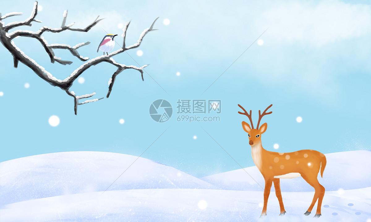 清新手绘雪天背景