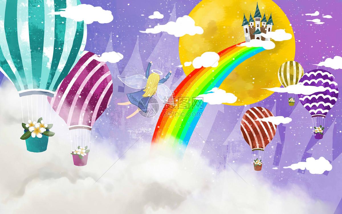 梦幻热气球彩虹城堡