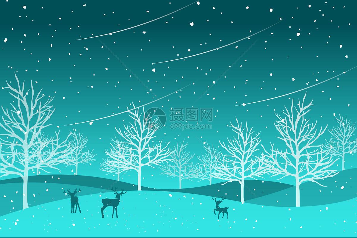 星空麋鹿风景插画