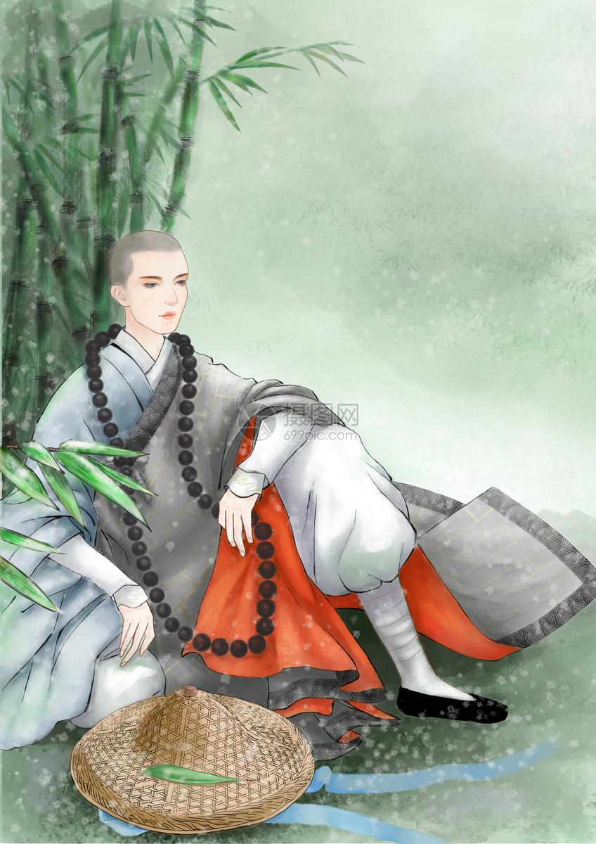 古风手绘僧人图片