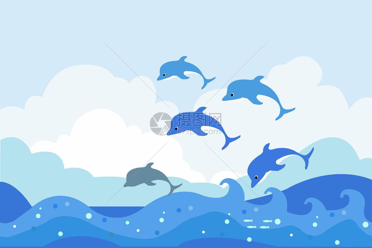 照片 背景素材 海豚ai
