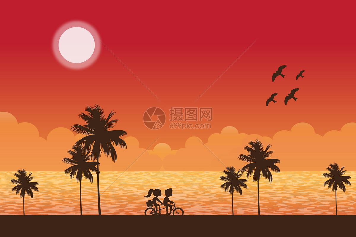 情侣单车风景