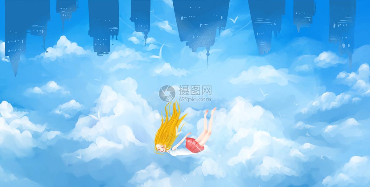 在城市飞翔的小女孩图片素材_免费下载_psd图片格式