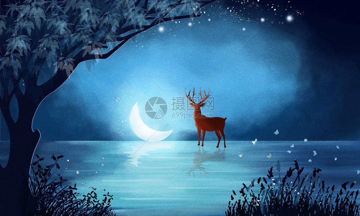 夜晚的森林图片素材_免费下载_psd图片格式_vrf高清
