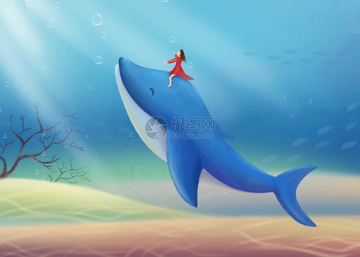 梦幻海底的海豚和女孩