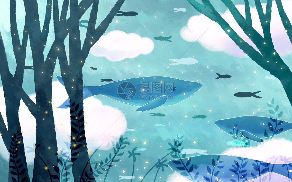 梦幻鲸鱼世界图片素材_免费下载_psd图片格式_vrf高清