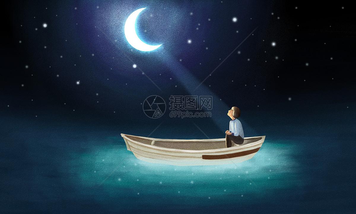 月下小船图片素材_免费下载_psd图片格式_vrf高清图片
