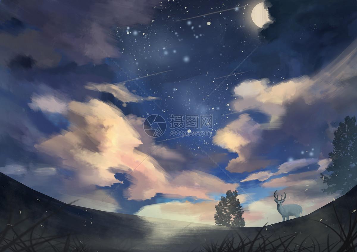 星空下的麋鹿