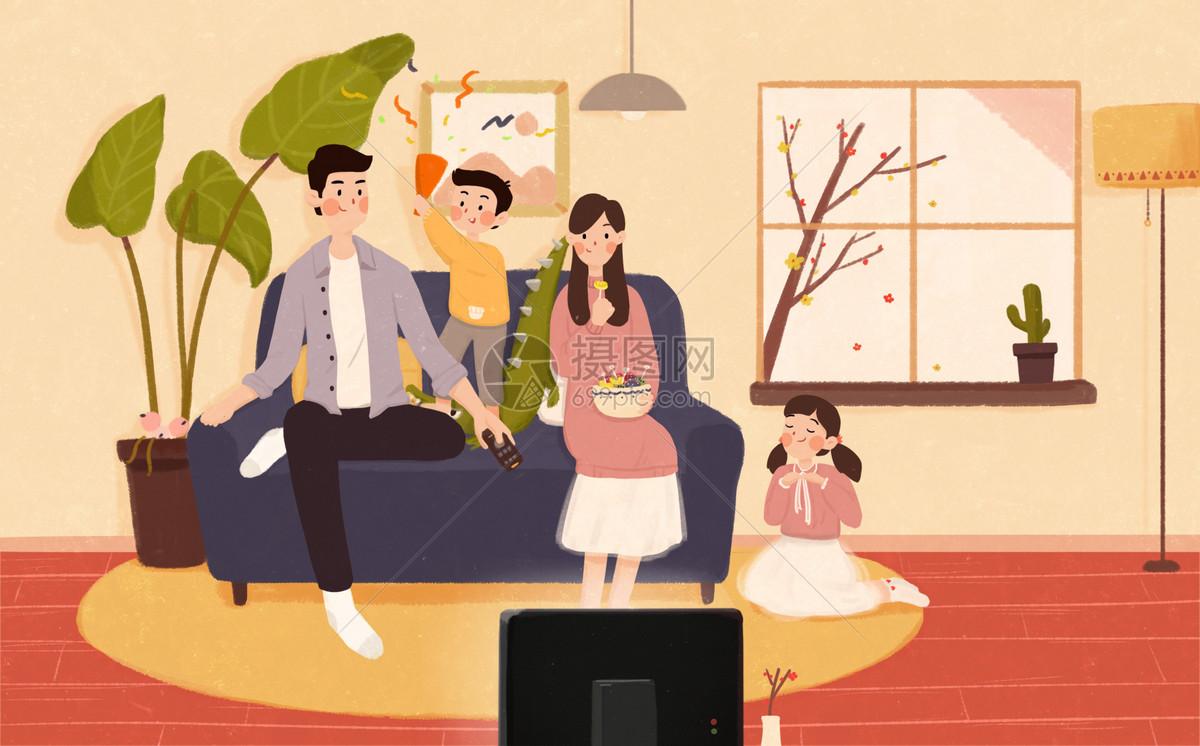 全家一起看电视