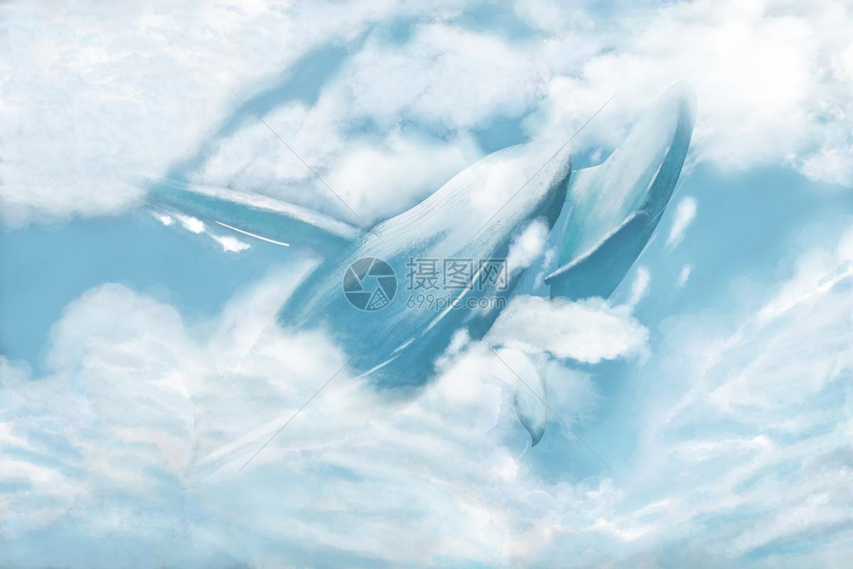梦幻云中鲸鱼图片素材_免费下载_psd图片格式_vrf高清