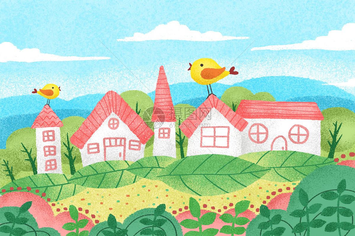 春天风景手绘插画