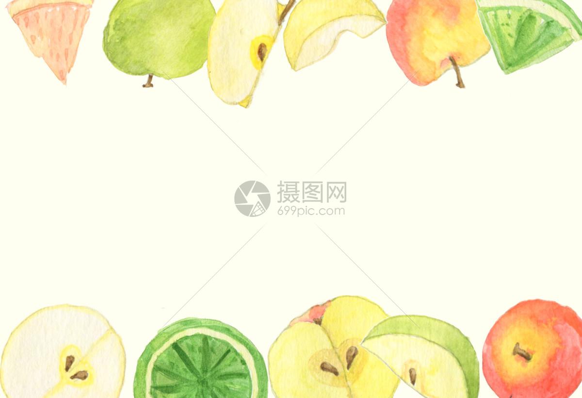 手绘水彩水果背景图片