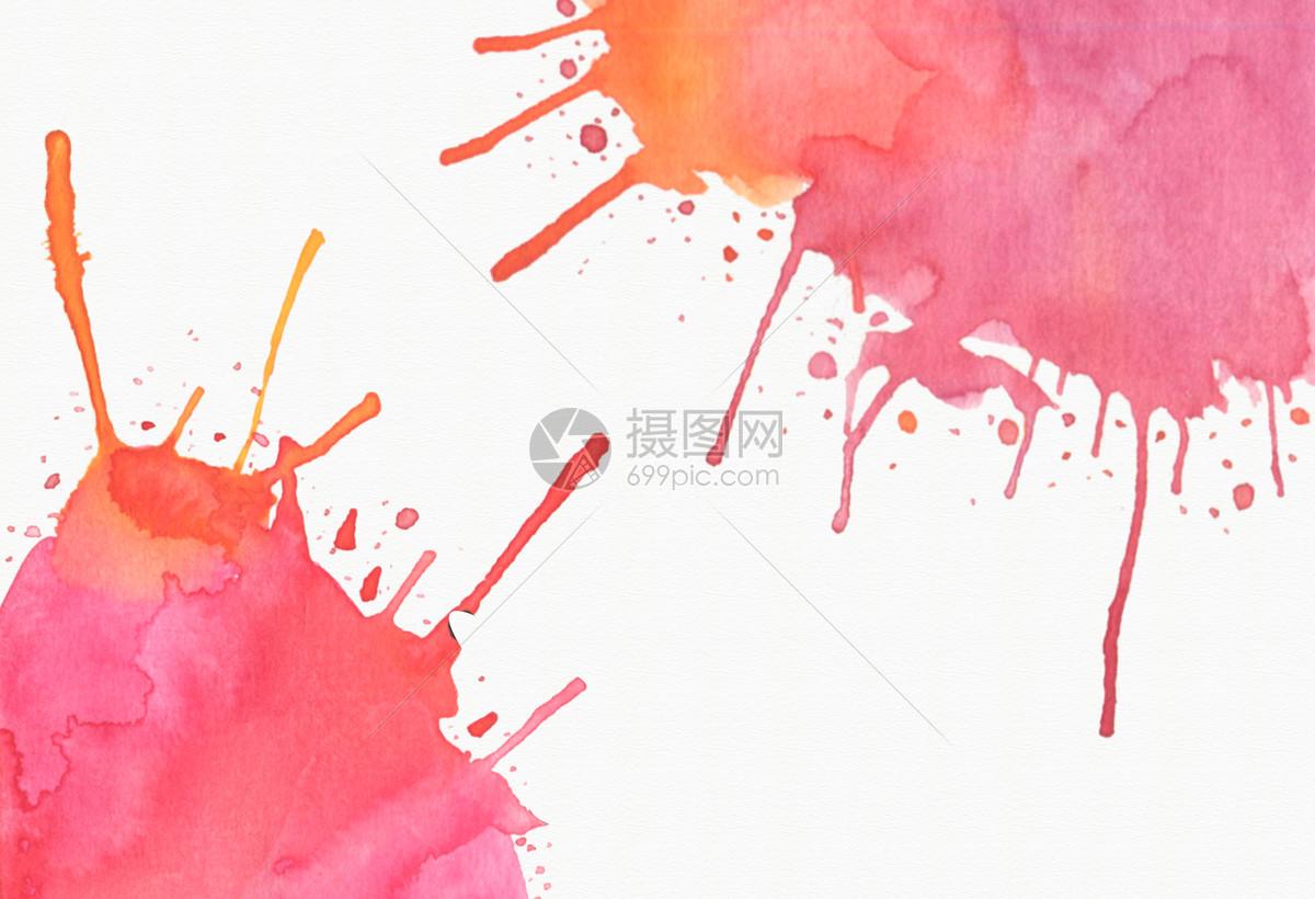 红色喷溅水彩手绘背景