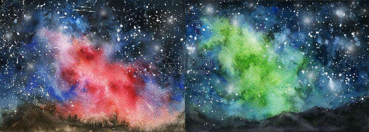 水彩极光星空壁纸