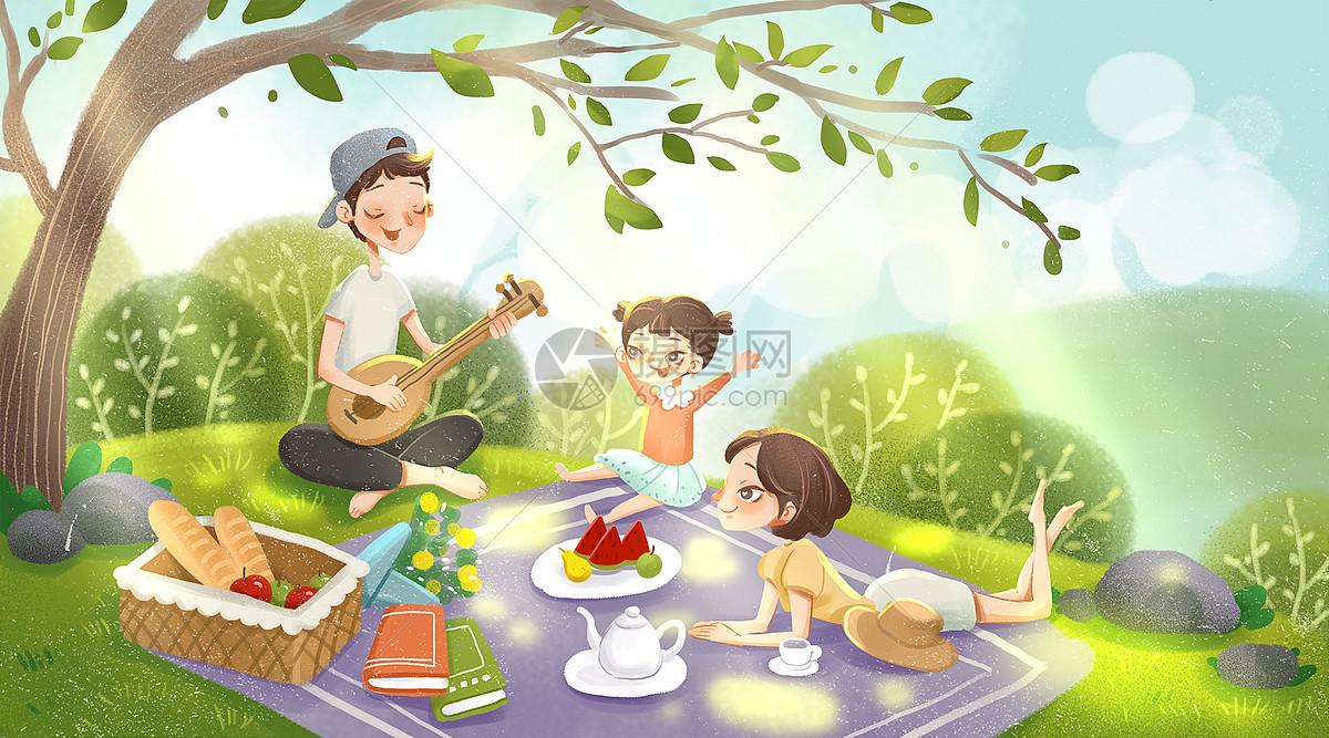 野餐图片卡通画