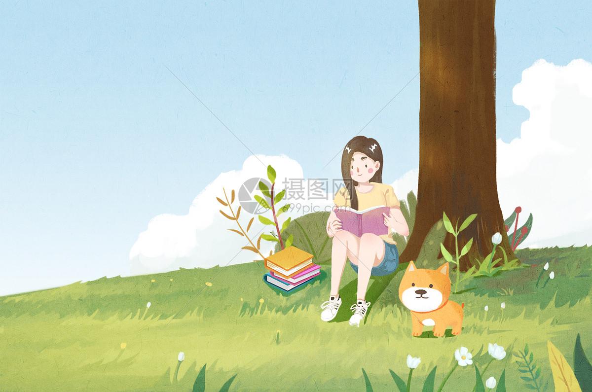 树下看书的女孩