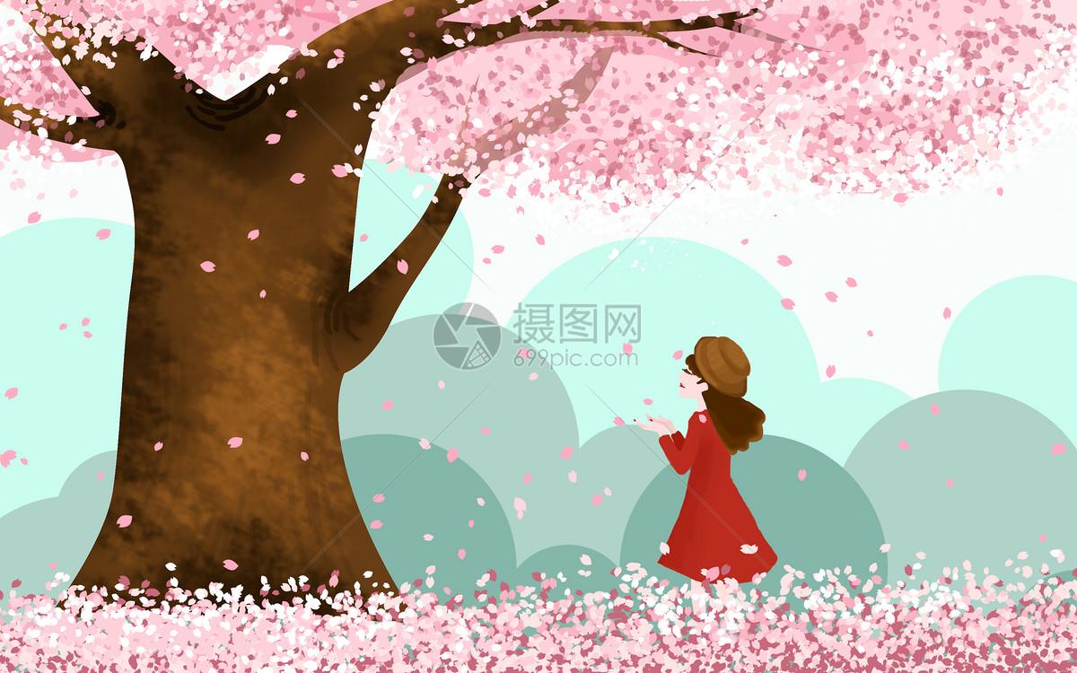 樱花树下的女孩psd  分享: qq好友 微信朋友圈 qq空间 新浪微博  花瓣