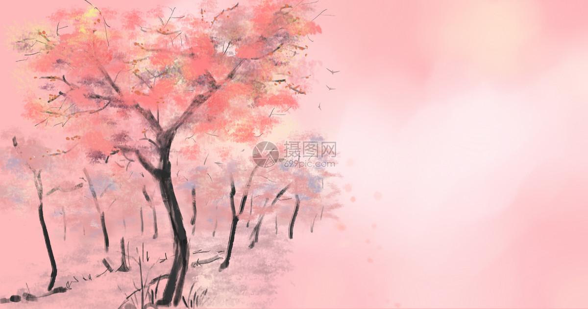 手绘春季樱花背景素材