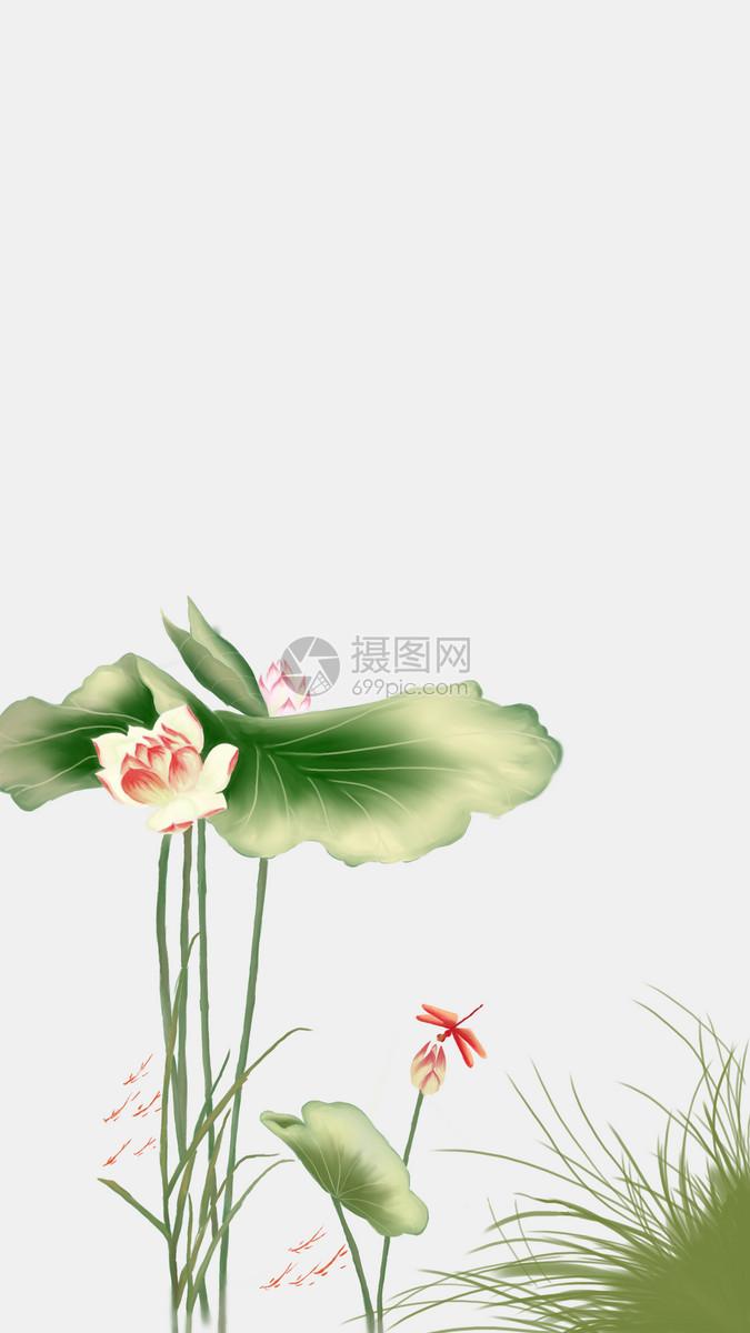 水墨插画夏至图片素材_免费下载_psd图片格式_vrf高清